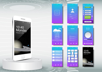 UI, UX for mobile application template, gradient color
