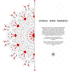 Vector card. Abstract round pattern with curls and hearts. Wedding or Valentine's Day. Place for your text. Perfect for greetings, invitations or announcements.