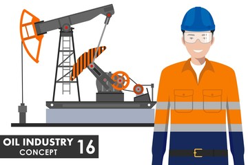 Oil industry concept. Detailed illustration of oil pump and worker in flat style on white background. Vector illustration.