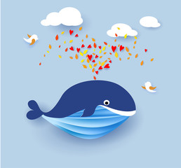 Whale flying on blue sky background. Vector illustration. Paper cut and craft style.