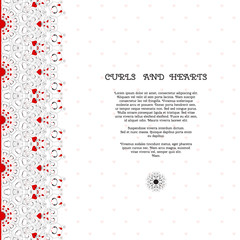 Vector card. Abstract pattern with curls and hearts. Wedding or Valentine's Day. Place for your text. Perfect for greetings, invitations or announcements.