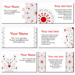 Set of six horizontal business cards. Abstract pattern with curls and hearts. Complied with the standard sizes.