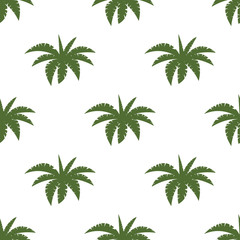 Bright vector green leaf floral seamless pattern summer beach party tropical palm background.