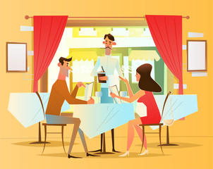 A romantic dinner in the restaurant. The waiter serves visitors . Vector illustration