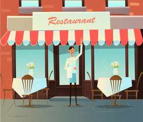 Waiter invites to a cafe. Adult smiling caucasian waiter holding. vector illustration