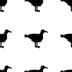 Seagulls - grunge seamless pattern with hand-drawn bird