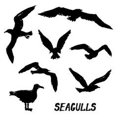 Seagulls - Set of 7 grunge hand-drawn birds