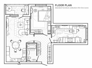 Set of furniture top view for apartments plan. The layout of the ...