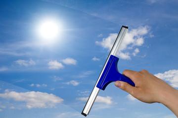 Fensterscheibe reinigen
