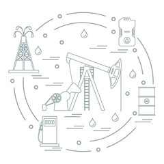 Cute vector illustration of the equipment for oil production, canister of gasoline, barrels with oil, gas station arranged in a circle.