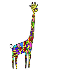 Cartoon style, small, funny animal, multicolored specks giraffe, isolated on white background.