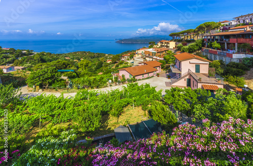 Wall mural View of Capoliveri village, Elba island, Tuscany.