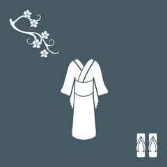 Cute illustration of branch of cherry blossoms and traditional japanese clothing and shoes.