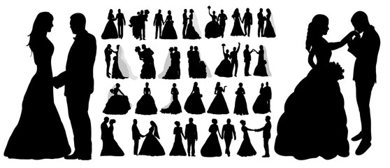 Vector, isolated silhouette of wedding, collection, set, Wall mural