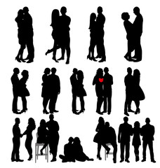 Vector, isolated silhouette people hugging, boys and girls collection, set,