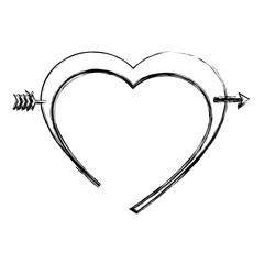 heart love card with arrow vector illustration design
