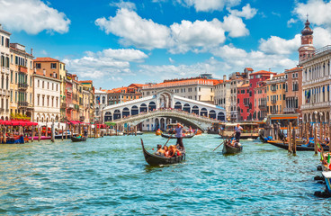 Garden Poster Venice Bridge Rialto on Grand canal famous landmark panoramic view