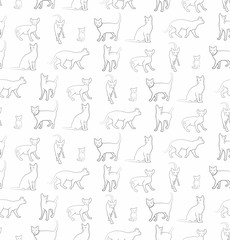 Seamless background with cats.