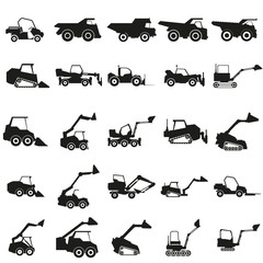Set loader car illustration. Vector. Black icon on white background.
