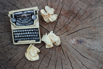 typewriter and content with paper