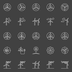 Wind generator and turbine icons