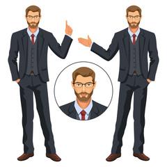 Man in business suit with vest. Bearded guy, gesturing. Elegant businessman in costume. Avatar. Stock vector.