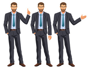 Man in business suit with tie. Bearded guy, gesturing. Elegant businessman in different poses. Stock vector.