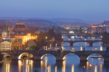 Charles Bridge at night, Prague, Czech Republic