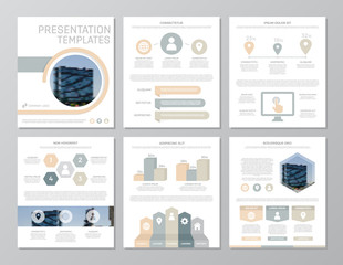 Set of gray and yellow elements for multipurpose a4 presentation template slides with graphs and charts. Leaflet, corporate report, marketing, advertising, annual report, book cover design.