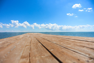 Wooden pier stretching into the sea