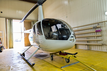 Helicopter in hangar
