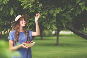 Beautiful girl enjoying freshly picked cherries in an orchard