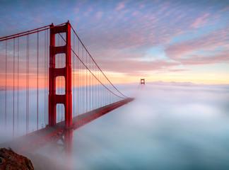 Golden Gate Bridge, San Francisco enveloped in clouds