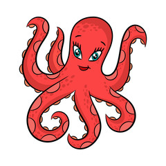 Funny cartoon octopus