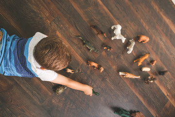 Lifestyle of little boy playing with animal action figures