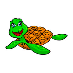 Funny cartoon sea turtles