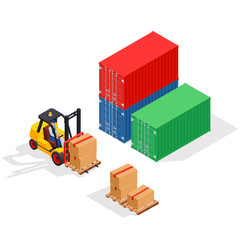 Unloading of sea cargo containers by a forklift. Closed containers and one outdoor. Isometric vector illustration.