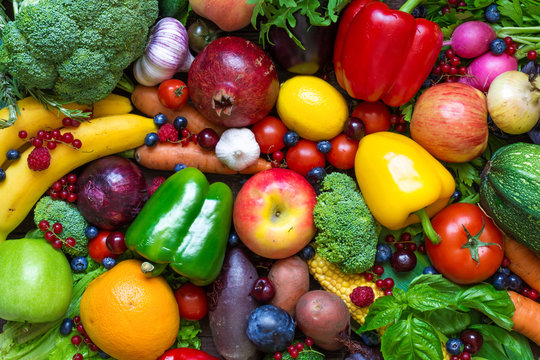 Assortment of fresh fruits, vegetables and berries.