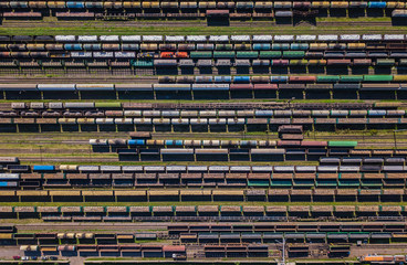 Aerial view of colorful freight wagons