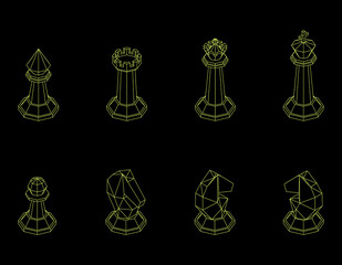 Chess pieces. Isolated on black background. Vector outline illustration.