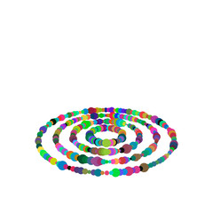 Rings from dots. Isolated on white background. Vector colorful illustration.