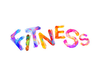 FITNESS. Vector inscription of triangular letters