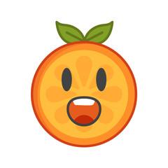 Scream emoji. Screaming orange fruit emoji. Vector flat design emoticon icon isolated on white background.