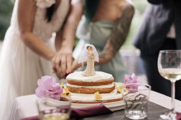 Close up of Brides cutting Cake