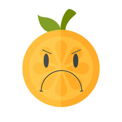 Angry face emoji. Angry orange fruit emoji. Vector flat design emoticon icon isolated on white background.