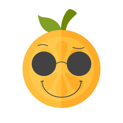 Cool emoji with sunglasses. Cool winking orange fruit emoji. Vector flat design emoticon icon isolated on white background.