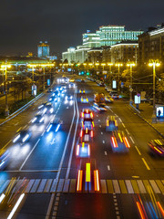 Night traffic in Moscow