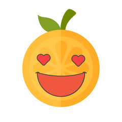 In love emoji. In love orange fruit emoji with the hearts instead of the eyes. Vector flat design emoticon icon isolated on white background.
