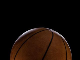 Basketball close-up on black background