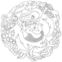 Decorative element with mermaid, dolphins, fish, algae. Black and white vector illustration for coloring pages or other.